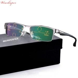 Image 1 - Óculos de leitura multifocal wearkaper, pernas flexíveis, armação metade para presbiopia
