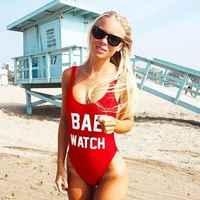 1 PC RELÓGIO Carta Imprimir One Piece Swimsuit BAE/Pior Comportamento Swimwear Para As Mulheres traje de bano mujer Sem Encosto Bodysuit Monokini