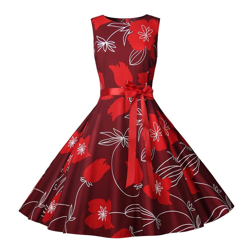 Womens New Summer Dresses Women Robe Elegant Vintage Retro Swing Rockabilly Dress High Waist Floral Runway Sundress Tunic in Dresses from Women 39 s Clothing