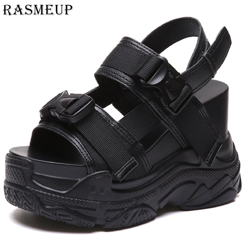 RASMEUP Summer Shoes Sneakers Platform Sport-Sandals Women Wedge Comfortable High-Heel