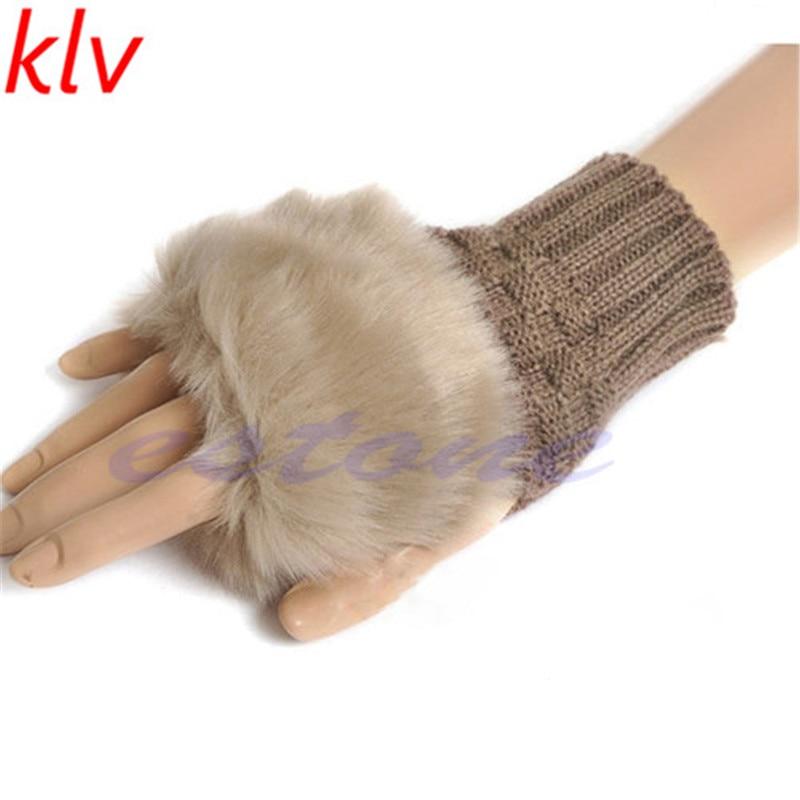 Fashion Girls Ladies Rabbit Fingerless Fur Winter Warm Wrist Mitten Gloves Knitted Wool Diamond-shaped Imitation  Hot New