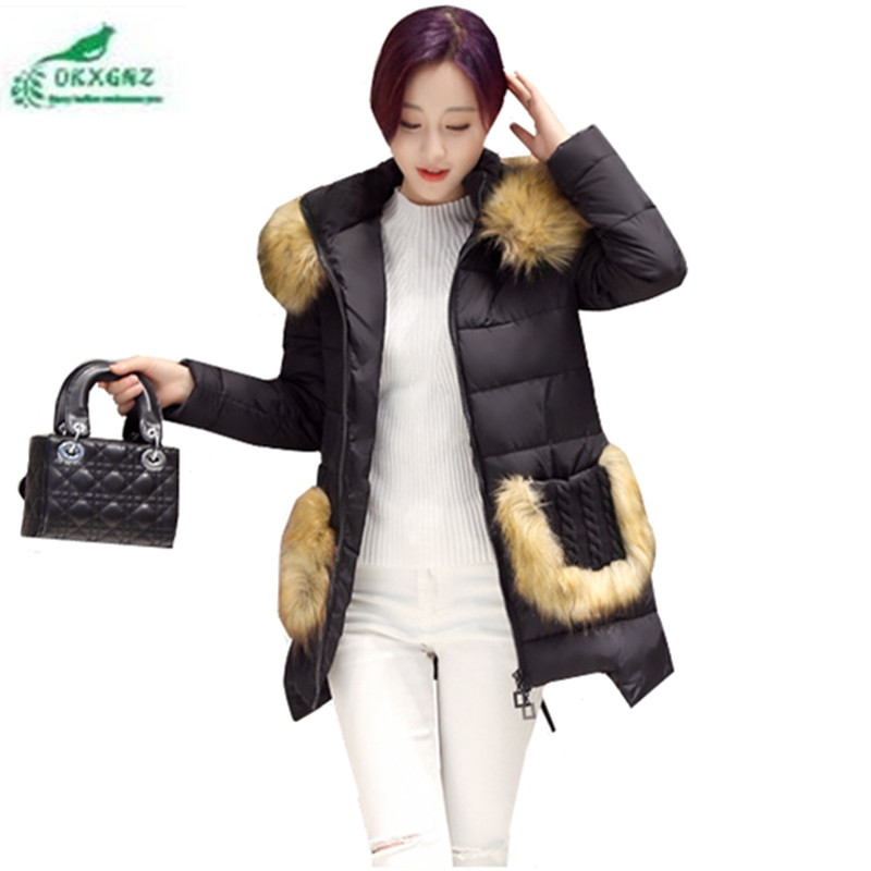 OKXGNZ Korea Winter Coat Female 2017 New Fashion Big Yards Coat Medium long Hooded Fur Collar Cotton Coat Women Clothing QQ025 female rabbit raccoon fur coat and long sections nagymaros collar coat 2014 new winter fur clothes big yards free shipping