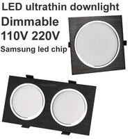 2x15W LED Downlight Dimmable Panel Led Light 110V 220V Led Spot Grille Light 3000K 4000K 6000K