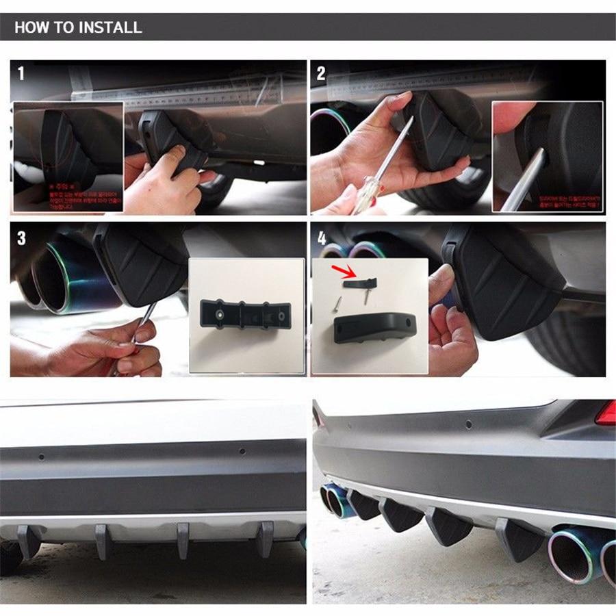 Universal 4Pcs PVC Car Rear Bumper Diffuser Molding Point Garnish Anti-collision