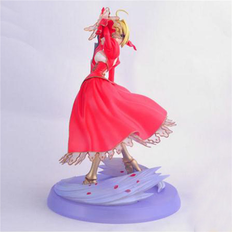 1pc/lot Anime Fate Stay Night Fate/EXTRA Ver. Red Saber Lily Fate/stay Night PVC Action Figure Collection Toys Gift 26CM hot figure toys japan anime fate stay night pvc red saber nero model doll action figure collection gift free shipping p20