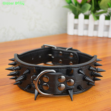 High Leather Sharp Black Spikes Medium Large Dog Pet Pitbull Collar and Matched