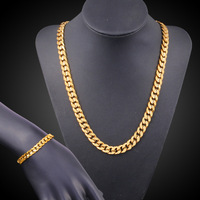 Flat Curb Jewelry Set Yellow Gold Filled Mens Necklace+Bracelet Set (20