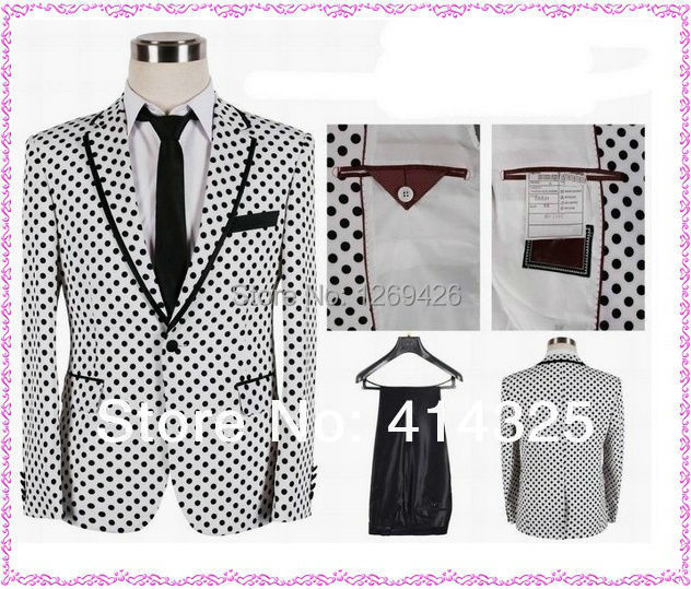 2016 Discount Price Top Fashion White Black Polka Dot Dress Suits For Young Adults Senior Prom