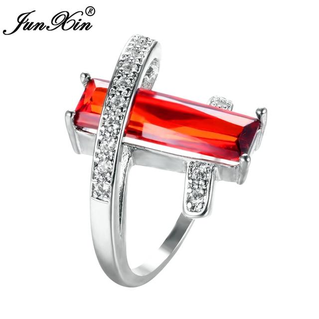 Junxin Шарм мужской женский красный кольцо стерлингового серебра 925 Заполненный Винтаж Свадебные Кольца для Для мужчин Для женщин модные вечерние украшения