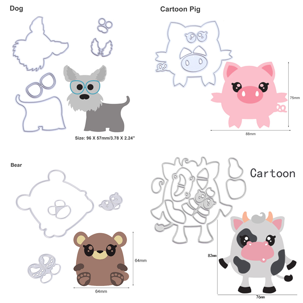 PIG 2 die cuts scrapbook cards