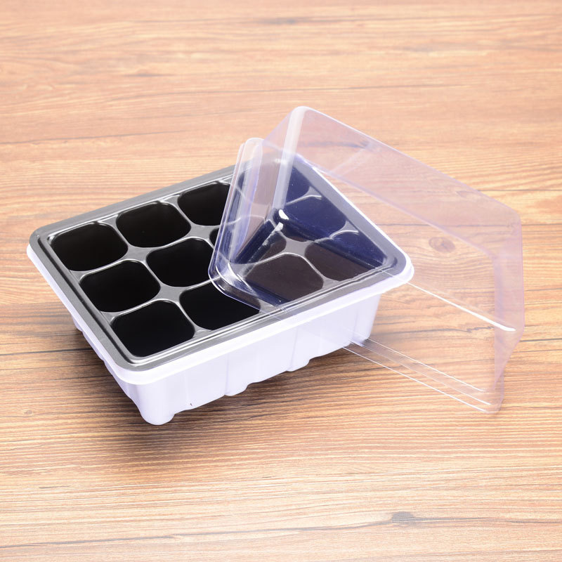6/12 Grids Nursery Pot Planting Seed Tray Kit Plant Germination Box with Dome and Base Garden Grow Box Gardening Bonsai