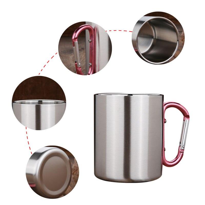 Bpa Free Stainless Steel Folding Handgrip Sport Outdoor Survival Wild water cup Portable Mountaineering buckle Travel Coffee Mug
