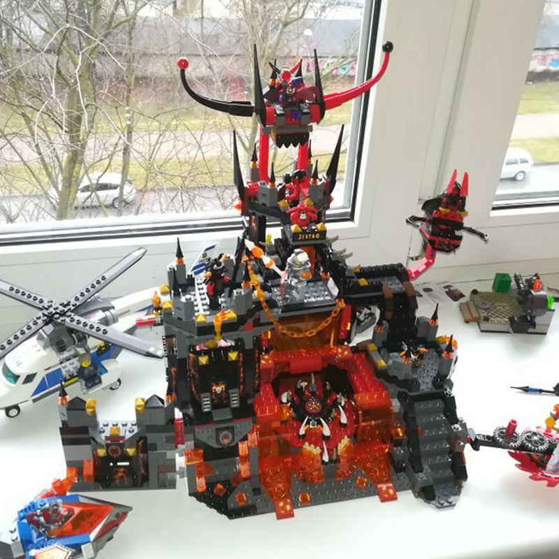 2018 Nexus Knights 1237Pcs+ Chevaliers Axl Jestros Volcano Lair Building Blocks Bricks Compatible Legoe Nexo Knights gifts Toys