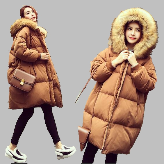 New 2017 Women Winter Jacket Large Size Thick Warm Cotton Coat Big Fur Collar Hooded Cotton Jacket Medium long Women Coat AB385