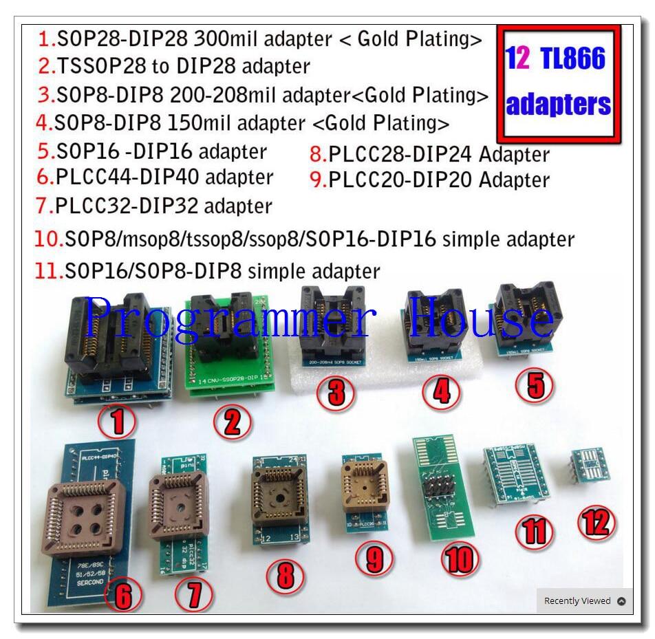 12pcs Universal Adapters Scoket For Programmer Vs4800 Tnm5000 TL866A TL866cs TL866II Plus Ezp2010 2013 2019 G540 EZP2010 TOP3000