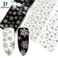 Blueness 1 рулон Рождественский дизайн лазерный голограф для нейл-арта переводные наклейки из фольги Manciure DIY наклейки для ногтей аксессуары Принадлежности
