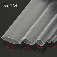 5Pcs 1M Halogen-Free 2:1 Heat Shrink Tubing Transparent Cable Wire Sleeving Wrap White 2.0/3.0/6.0/8.0/12.0mm