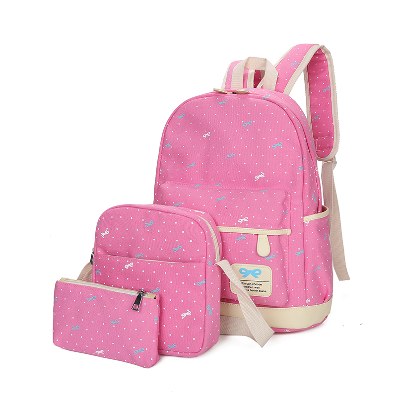 Preppy Style 3 Pieces/Set Canvas Backpack Dot Printing Backpacks School Girls Mochila Mujer