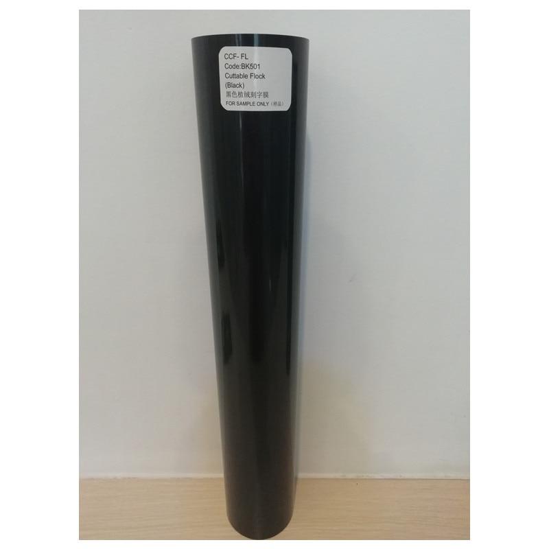 Flock Cuttable Pu Flex Vinyl Film Black Color 0.5mx1m Roll Size (20