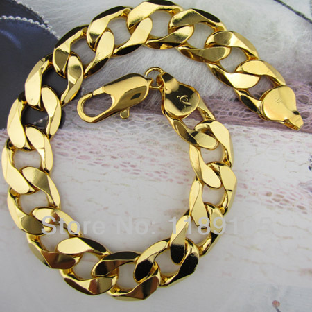 2piece Lot Italy Mens Bracelet 18k Real Yellow Gold Filled 8 66 12mm Solid Curb