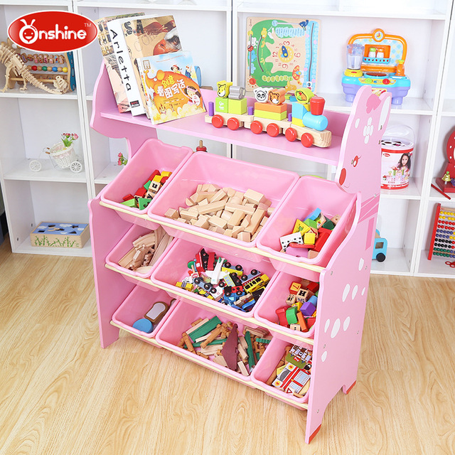 Cartoon Fawn Oversize Children Toy Storage Rack Three Storeys No Box 3  Colors Toys Storage Shelves