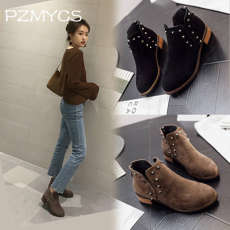 PZMYCS New Fashion Women martin Boots Autumn Winter Boots Classic Zipper Ankle Boots Grind arenaceous Warm Plush Women Shoes ...