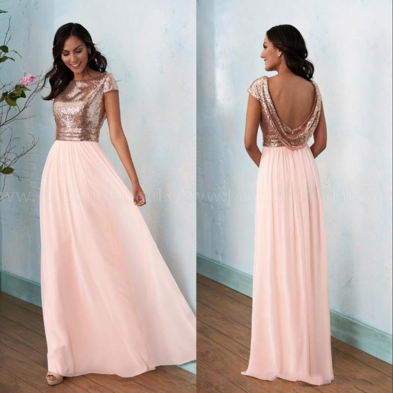 Robe Demoiselle D'honneur A Line Peach Pink Bridemaid Dresses Sexy Backless Sequined Top Wedding Party Gowns