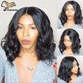 Top Moda Ondulado Perucas Bob Cabelo Humano Malaio Cheia Do Laço Humano cabelo Glueless Parte Dianteira Do Laço Do Cabelo Humano Bob Perucas Para A Mulher Preta perucas