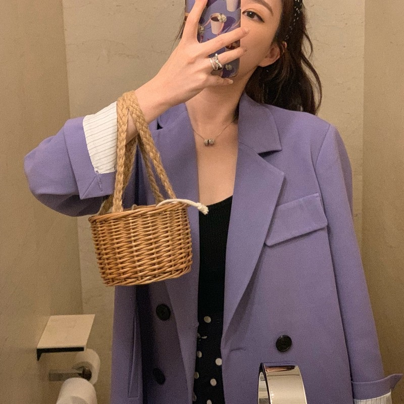 Fashion Double Breasted Notched Collar Women Blazer Jacket 2019 Elegant Pockets Female Outerwear Modern Lady Workwear