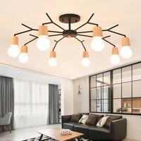 Estilo nórdico sala lustre lâmpadas personalidade criativa lustre da sala de jantar quarto lustre de madeira simples|living room chandelier|chandeliers bedroom|room chandelier -