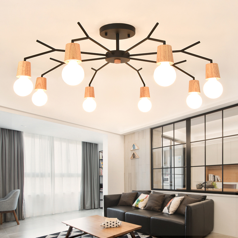 Wood Chandeliers For Dining Room: Nordic Style Living Room Chandelier Simple Wood Lamps