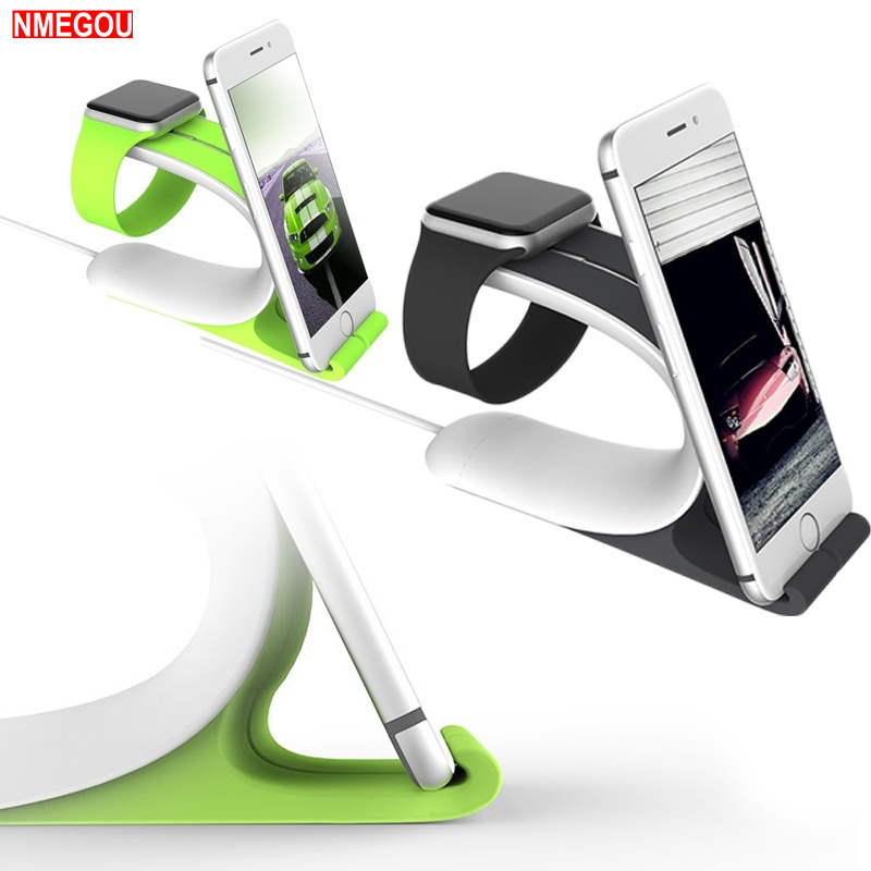 2 In 1 Rubber Stand for Apple Watch Serie 4 3 2 1 <font><b>IPhone</b></font> XS X Max 8 7 6 6S 5 Plus <font><b>Dock</b></font> <font><b>Station</b></font> Office Desk Phone Holder Bracket image