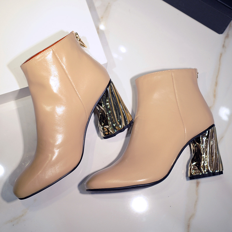 Women Square Toe Genuine Leather Ankle Boots Thick Gold Heels Boots Martin Boots High Heel Boots Winter Shoes Botas