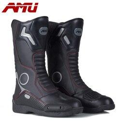 AMU دراجة نارية الأحذية الجلدية مقاوم للماء بوت موتو دراجة نارية التمهيد السائق حامي أحذية موتور موتوكروس الأحذية