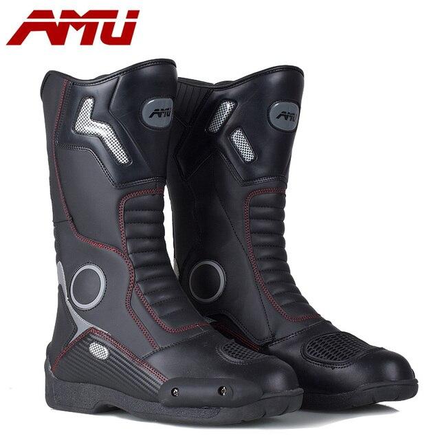 Botas de couro para motociclista, botas de couro à prova d água para moto, motociclista, botas de motocross