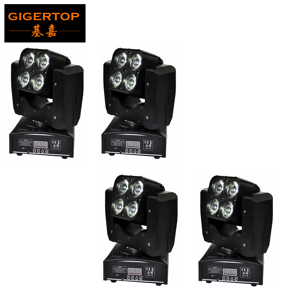 TIPTOP Mini 4XLOT 4 X 15W Led Moving Head Beam Light RGBW 4IN1 Plastic Shell Free Mounting Clamp 3 Lens Degree Auto Sound Active