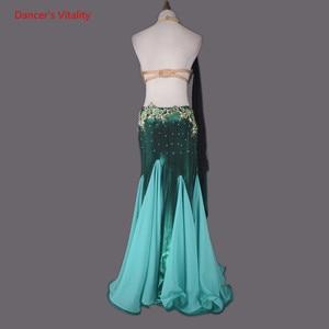 Image 5 - 2 pièces pour femmes, tenue de danse du ventre, tenue de soirée, soutien gorge, jupe en queue de poisson, tenue de compétition de danse du ventre