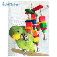 Venta caliente juguetes Del pájaro del Loro móviles pivotar masticar madera juguetes de cuerda diversión con campanas de tamaño medio 2015 Nueva Llegada
