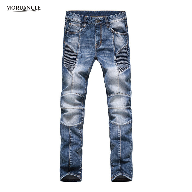 Brand Designer Mens Motorcycle Jeans Pants Fashion Pleated Biker Denim Joggers Multi Zipper Slim Fit Moto Jean Trousers Straight 2017 fashion patch jeans men slim straight denim jeans ripped trousers new famous brand biker jeans logo mens zipper jeans 604