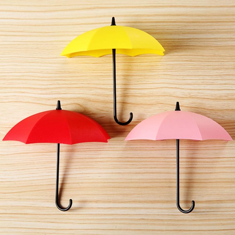 3pcs Cute Umbrella Shape Self Adhesive Wall hook Key Hair Pin Holder ...
