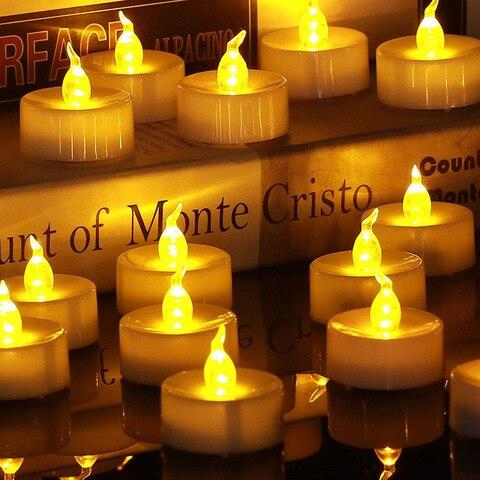 24 pcs flameless led cha luz velas a pilhas tealights falso led vela luz de