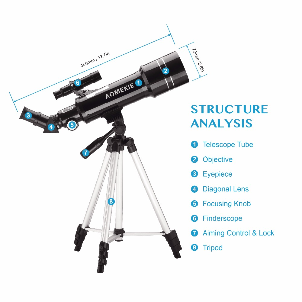 AOMEKIE F40070M Telescope Adjustable High Tripod Terrestrial Space Astronomical Telescope Erecting Image Moon Watching Monocular