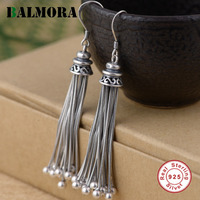 BALMORA 925 Sterling Silver Tassel Long Drop Earrings for Women Party Gift Ethnic Earrings Thai Silver Jewelry Brincos SY31317