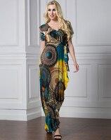 2018 Women Summer Dress V Neck Short Sleeve Plus Size 7XL Ruffled Asymmetrical Dress Printed Mermaid Dress Vestidos Verano