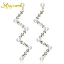 Ajojewel Fashion Simple Rhinestone Long Earrings Wedding Party Jewelry Women Simulated Pearl Drop 2019 Bijoux