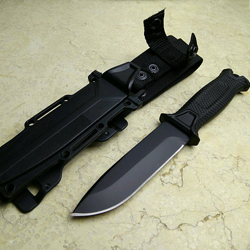 Black Color Hunting Knife for camping tools Tactical knives Full or Serrated Fixed Blade Knife + Sheath! king double krn a5t 5 zirconia ceramic utility knife w sheath red white
