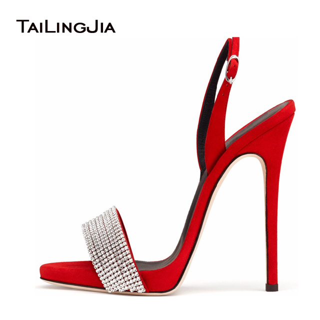 Red black sliver high heel sandals for women open toe