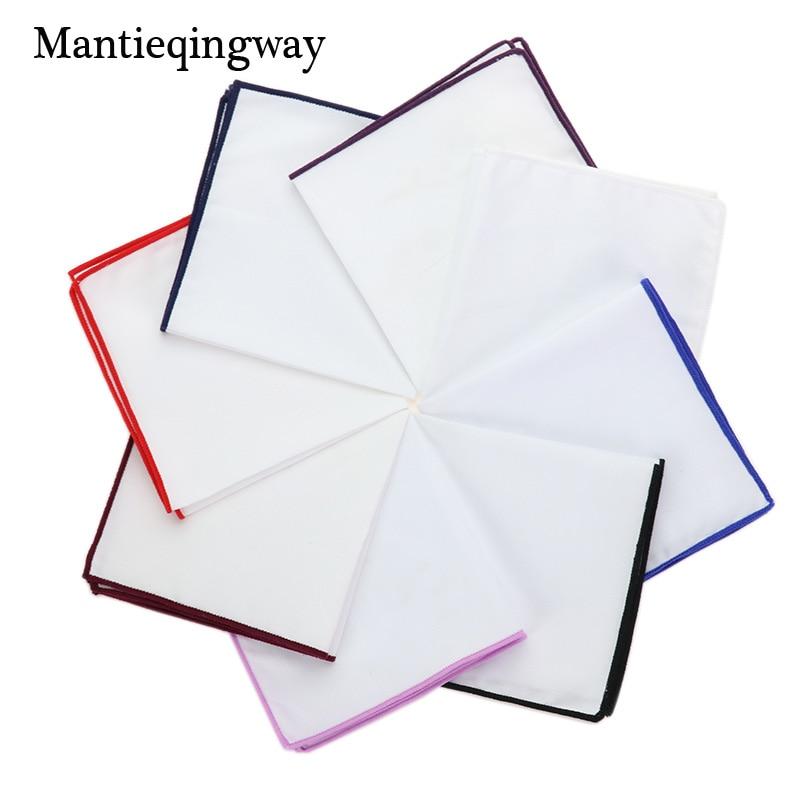 Mantieqingway Handkerchiefs Pocket Cotton White Hankies For Wedding Casual Solid Color Pocket Square Towel 23*23CM Hanky