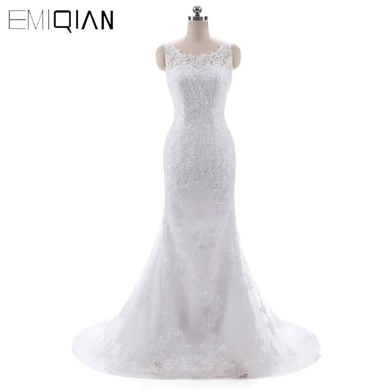Vestidos De Novia Casamento Boat Neck Lace Mermaid Wedding Dresses Sweep Train Bridal Gowns