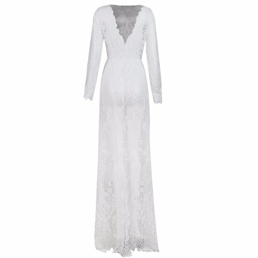 Lisacmvpnel Long Section Deep V Women Nightgown Lace Hollow Long Sleeve Nightdress